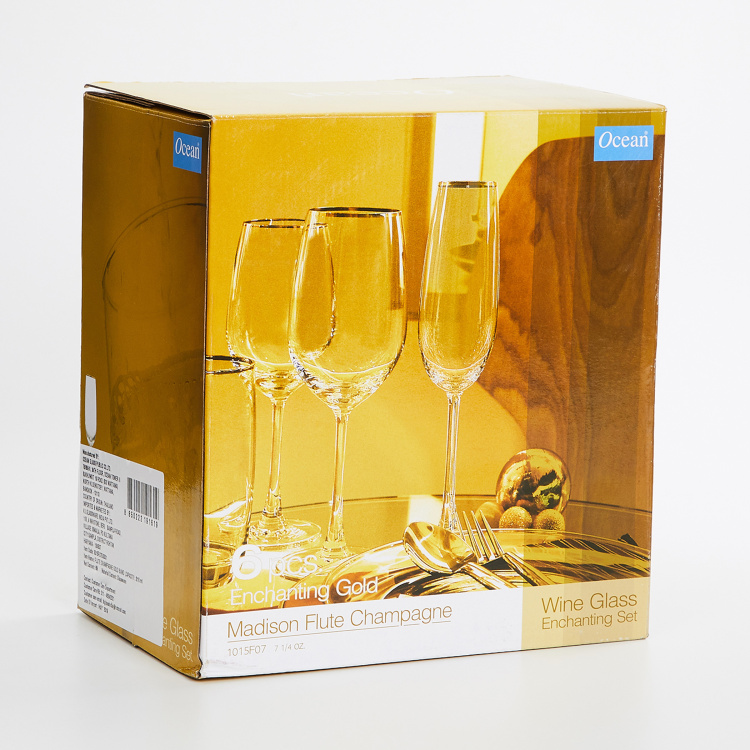 OCEAN  6-piece Gold Rimmed Flute Champagne Glass set -210 ml