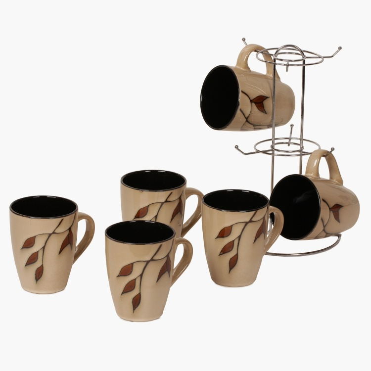 Caraway Stoneware Mug With Stand- Set Of 6