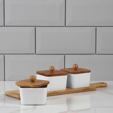 Sagano 3 Bowls With Lid And Bamboo Stand