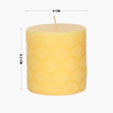 Redolance Golden Haze Embossed Pillar Candle - 8 CM