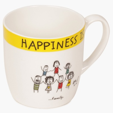 Happiness Doodle Inscribed Mug
