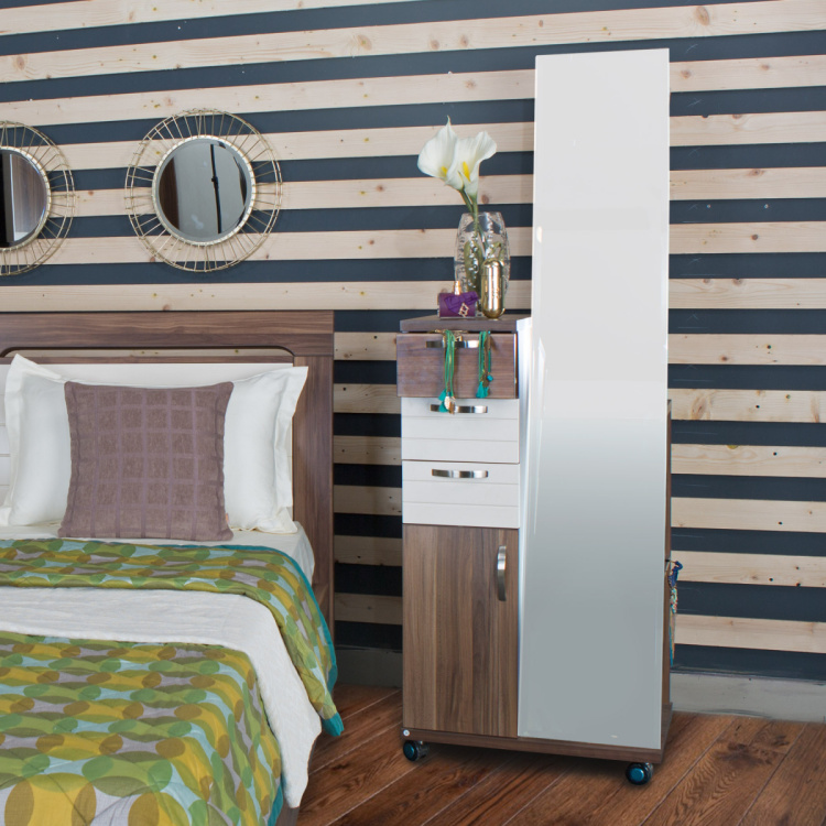 Akron-Crystal Tall Dresser with Mirror