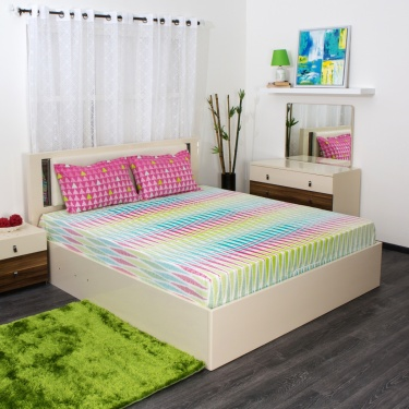 SPACES Allure Printed 3-Pc. Double Bedsheet Set - 224 x 274 cm