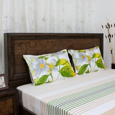 PORTICO BOTANICAL Printed 3-Pc. Super King Size Bedsheet Set - 274 x 274 cm