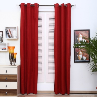 Aspen Solid Opaque Door Curtain-Set Of 2