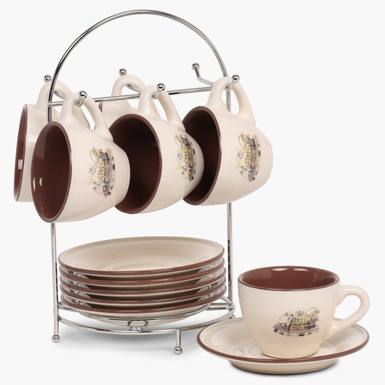 Jardin Cup And Saucer With Metal Stand- Set Of 13