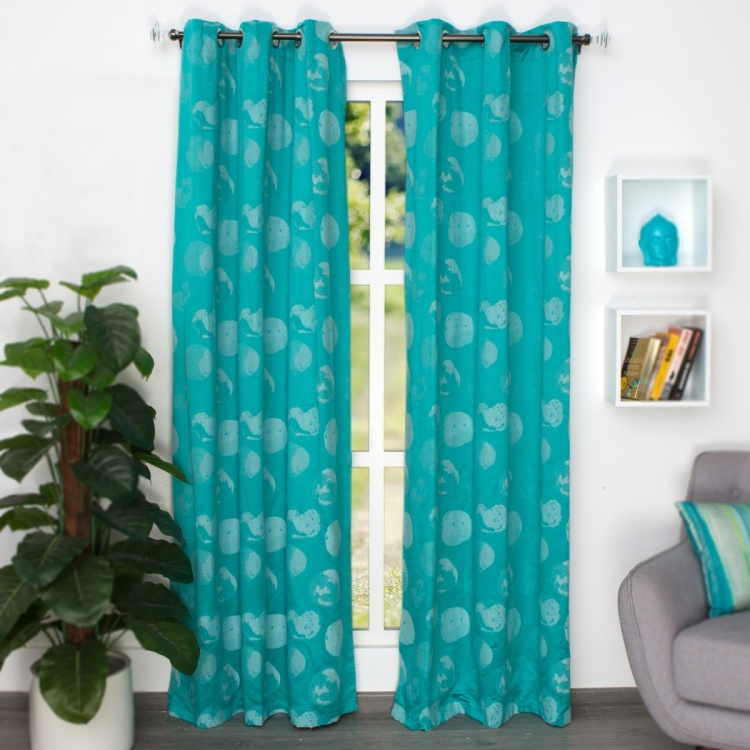 Jade Jacquard Door Curtain - Set Of 2 - 225 x 110 cm