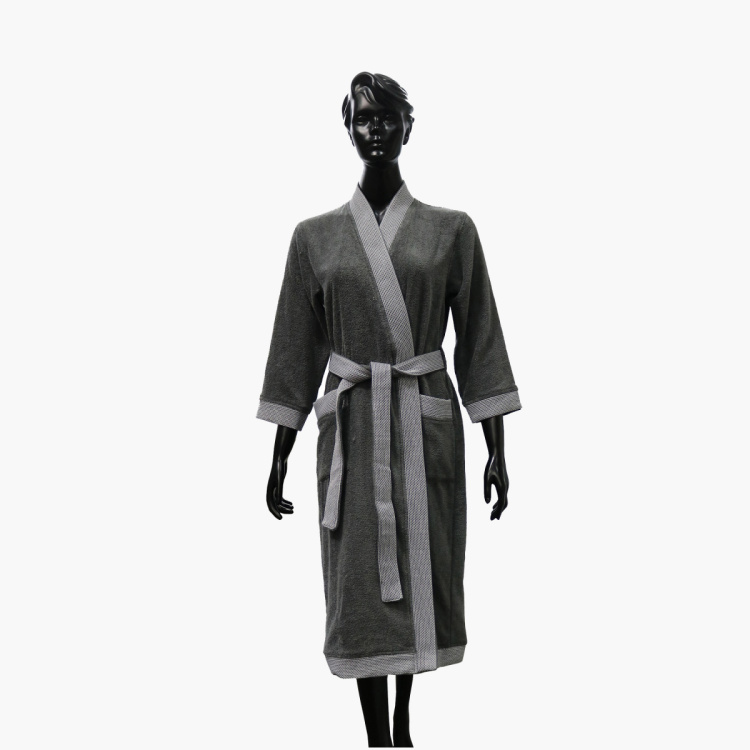 SPACES Women Cotton Textured Free Size Kimono Bathrobe