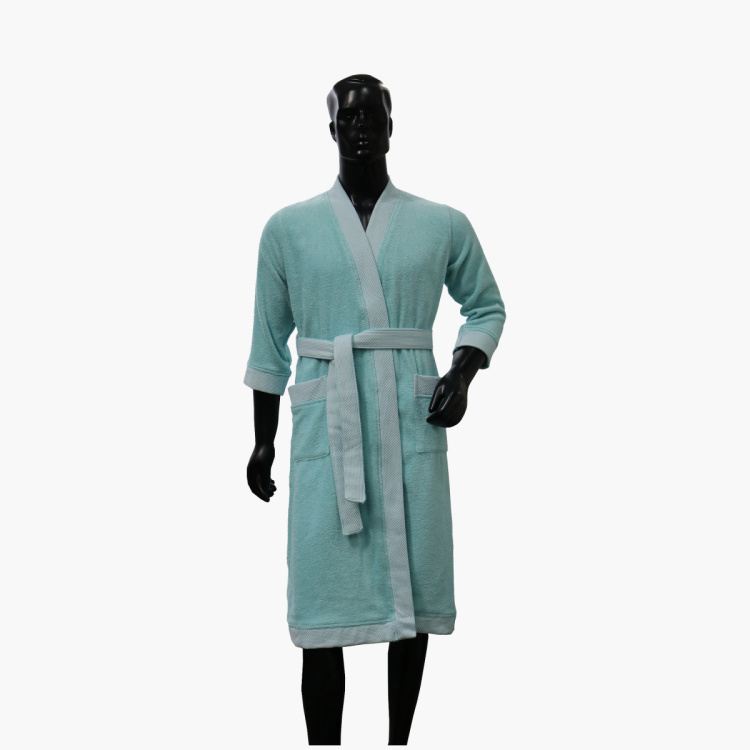SPACES Men Cotton Textured Free Size Kimono Bathrobe