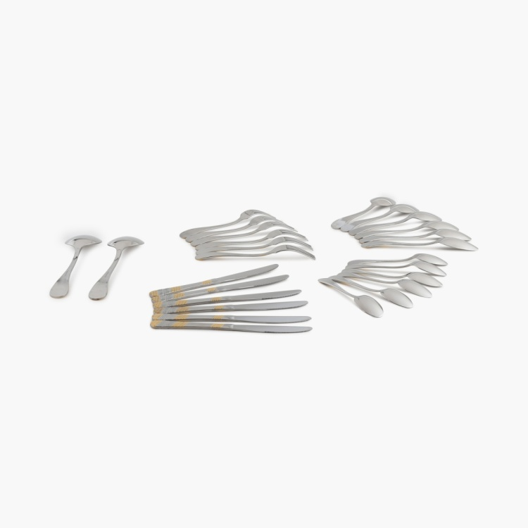 Glister Fiona Gold Cutlery Set With Stand - Set Of 26 Pcs.
