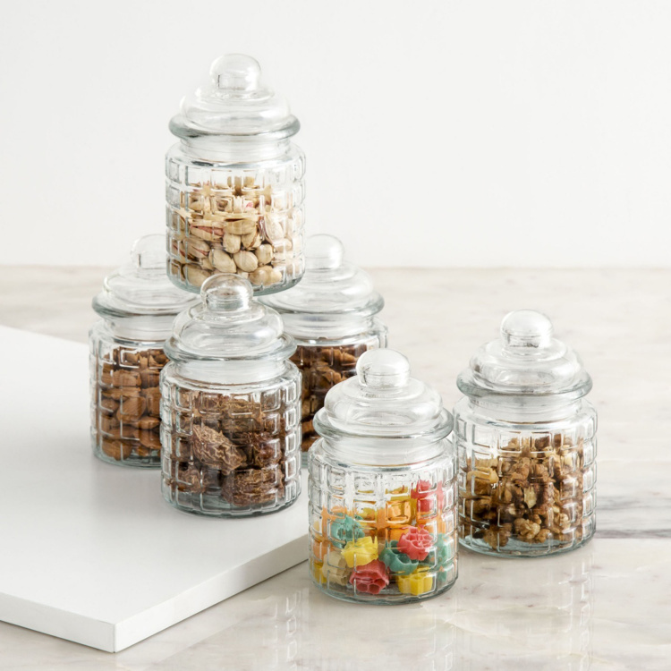 Mimosa Storage Glass Jars - Set of 6
