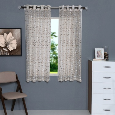 Sheer Embroidered Window Curtain - Set Of 2