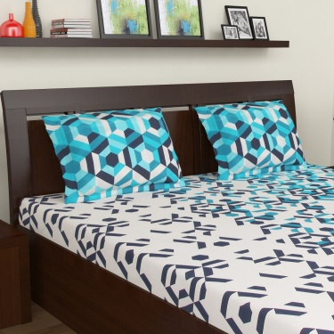MASPAR Geometric Print 3-Pc. Double Bedsheet Set  - 224 x 274 cm