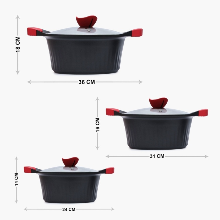 WONDERCHEF Metal Casserole With Glass Lid-Set Of 3 Pcs.
