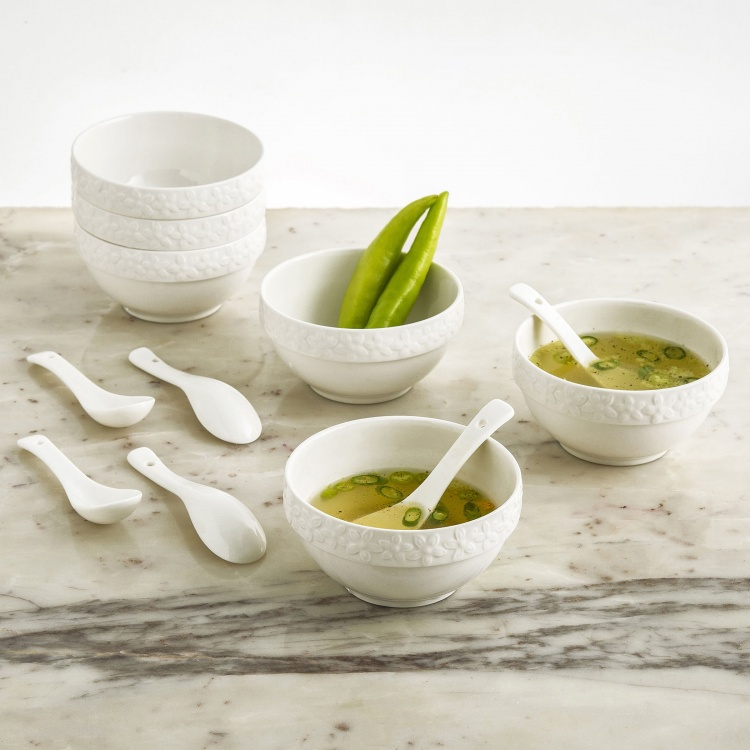 THEON-HYPO Solid Porcelain Soup Bowl With Spoons- 6+6