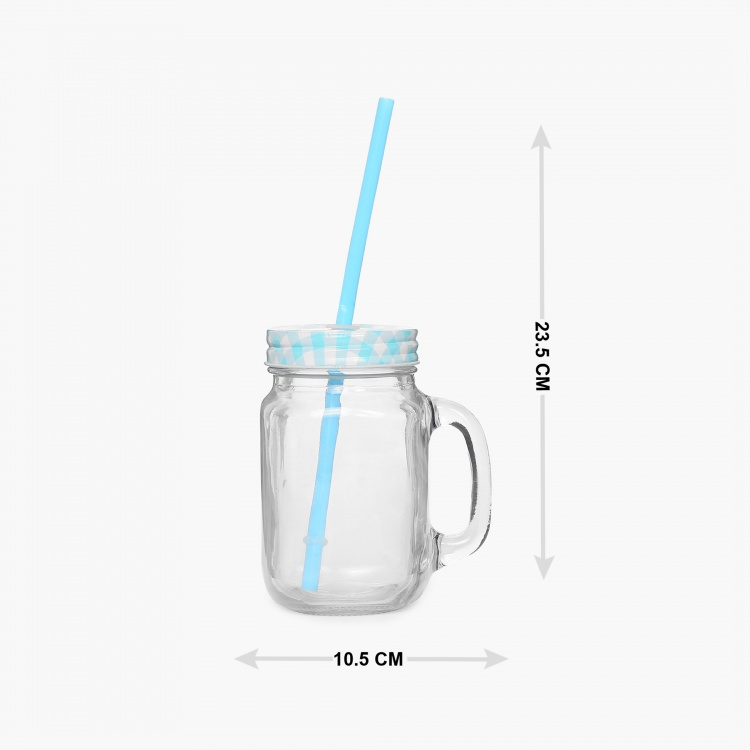 Peroni-Cuba Printed Glass Mason Jar With Straw - 450ml