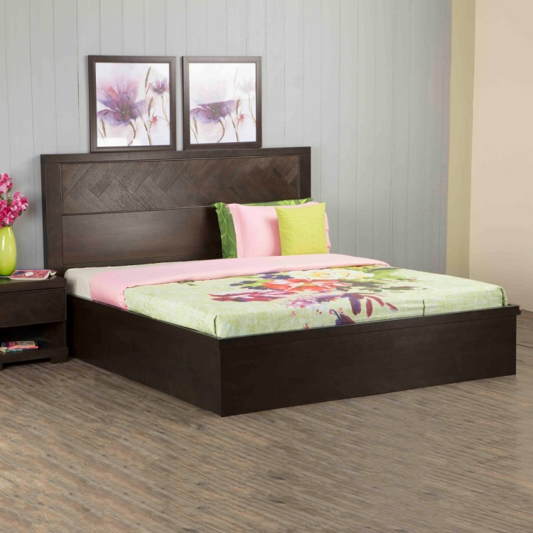 Petals Queen-Size Bed with Hydraulic Storage - 120 x 162 x 210 cm