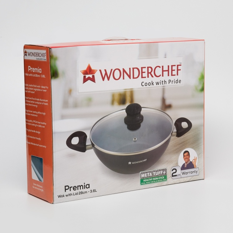 WONDERCHEF Premia Wok with Lid- 3.6 Litre