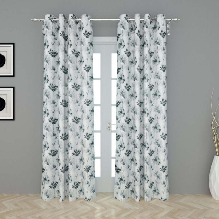 Rhythm Printed Semi-Blackout Door Curtain-Set Of 2 Pcs.- 225X135 cms