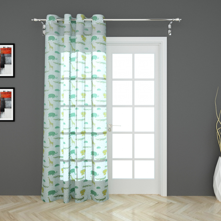 City Goes Wild Printed Semi-Sheer Door Curtain - 105 x 225 cm