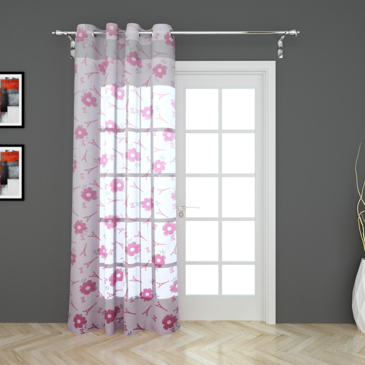 Fabulous 3 Printed Semi-Sheer Door Curtain - 105 x 225 cm