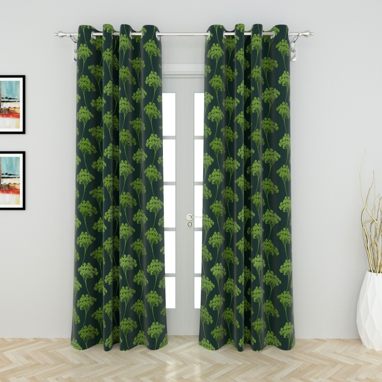 Griffin Greens Floral Printed Door Curtain Pair - 110 x 225 cm