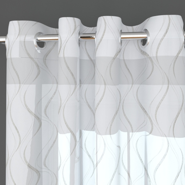 Crystal Wave Embroidered Door Curtain Pair - 110 x 225 cm