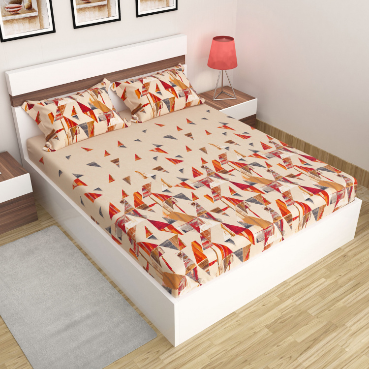 Matrix Printed King Size Fitted Sheet- Set of 3 Pcs.
