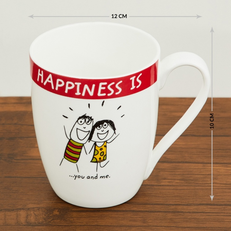 Happiness Bone China Printed Mug