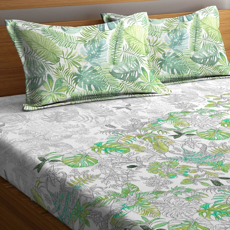 PORTICO Rain Forest 3-Piece Printed Cotton King Bed Linen