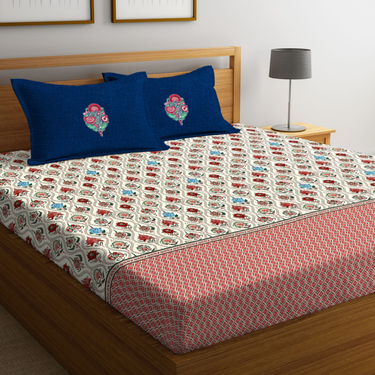 PORTICO Shalimaar Printed Cotton Double Bedsheet- Set Of 3 Pcs.
