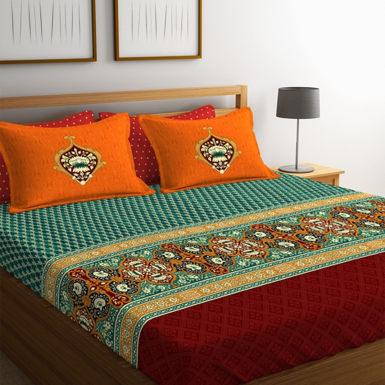 PORTICO Shubhmangalam Printed 3-Piece King-Size Bedding Set - 274 x 274 cm