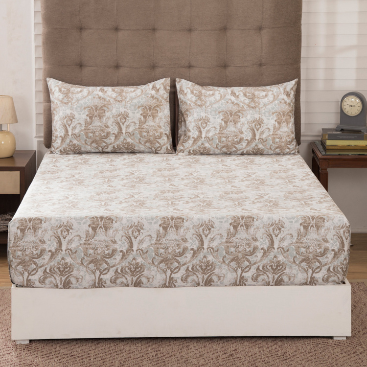 MASPAR Medivial Revival Foliate Printed 3-Pc. King Size Bedsheet Set  - 275 x 275 cm