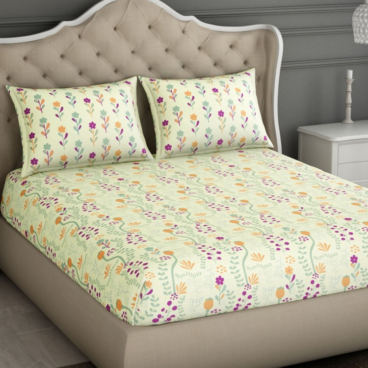 SPACES Essentials Printed Cotton 3-Piece Double Bedding Set - 274 x 274 cm