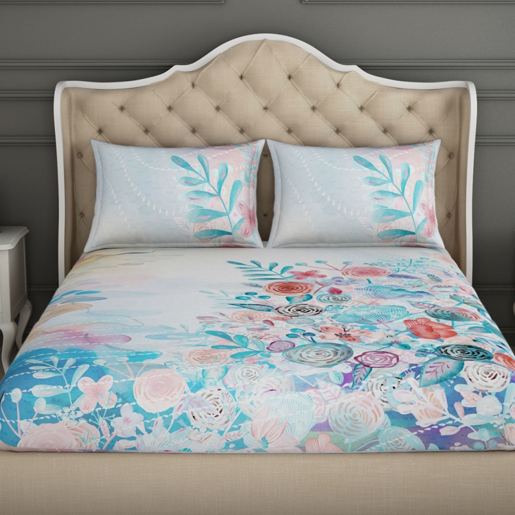 SPACES Floral Print Double Bedsheets - Set of 3 Pcs.
