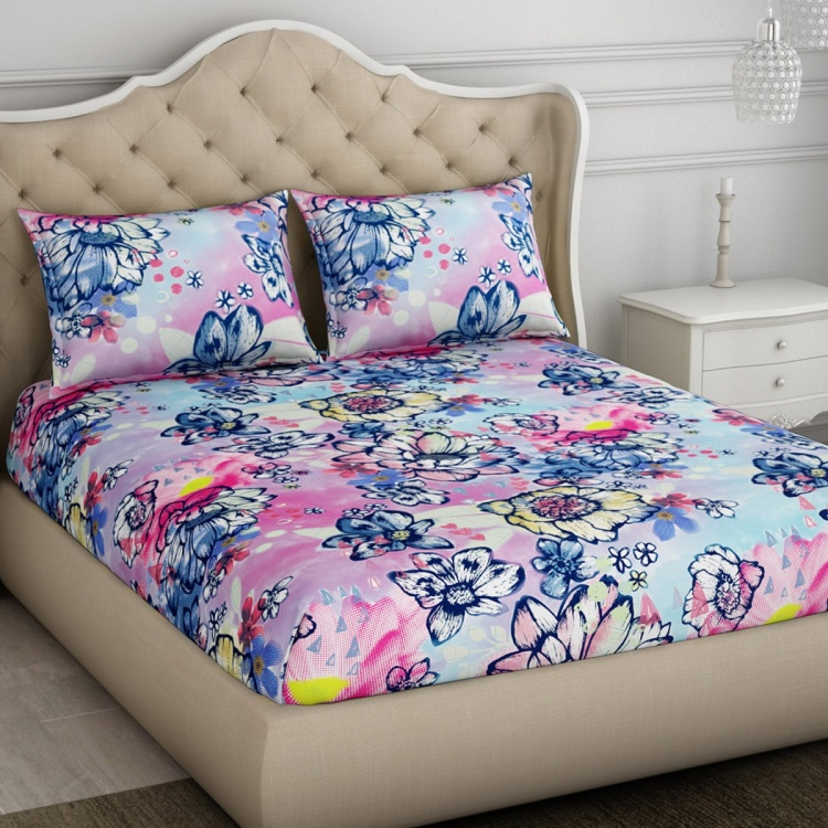 SPACES Essentials Printed Cotton 3-Piece Double Bedding Set - 224 x 274 cm