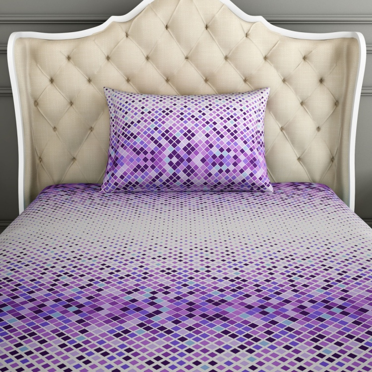 SPACES Geometric Print Ombre-Dyed Single Bedsheets - Set of 2 Pcs.