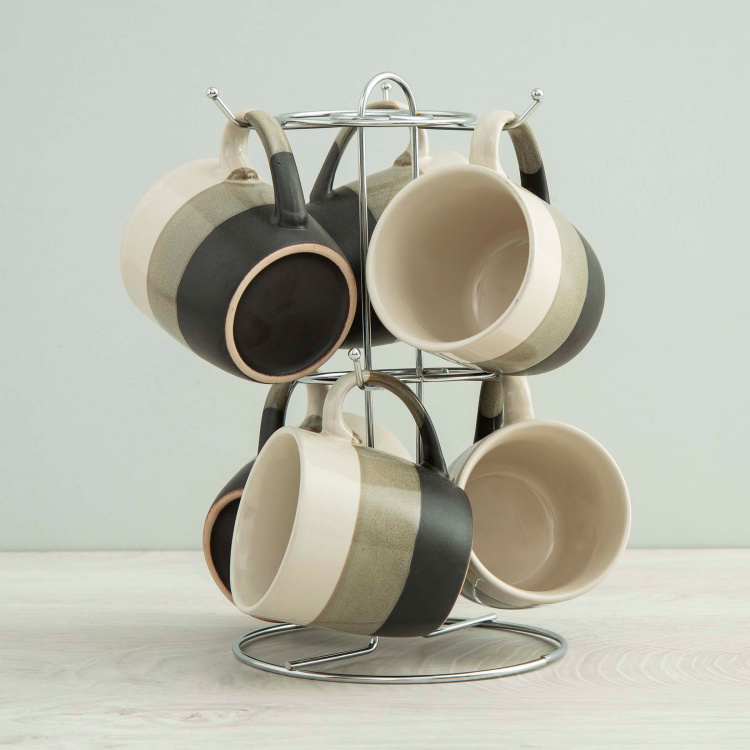 Caraway Colourblock Cups with Stand - Set of 6