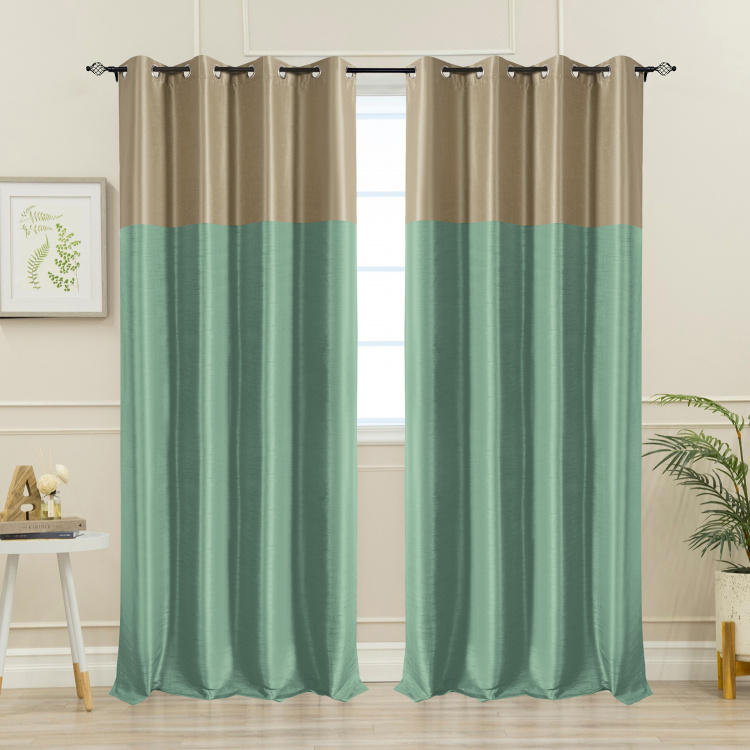 DECO WINDOW Colourblocked Blackout Door Curtain Pair - 132 x 274 cm