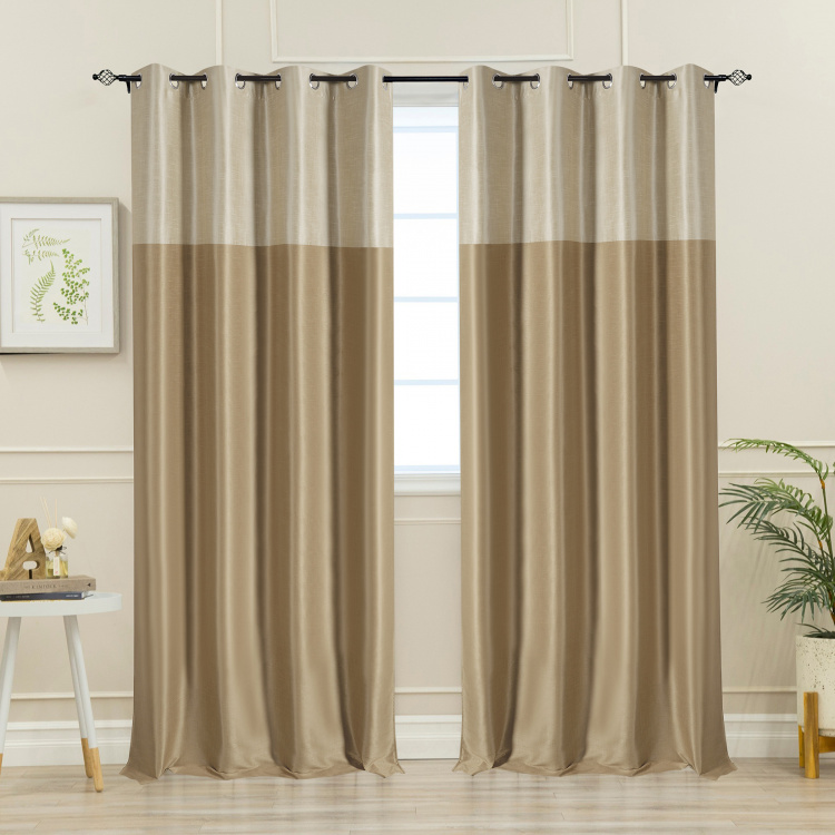 DECO WINDOW Colourblocked Blackout Door Curtain Pair - 132 x 228 cm