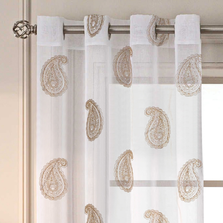 DECO WINDOW Printed Sheer Door Curtain Pair - 132 x 274 cm