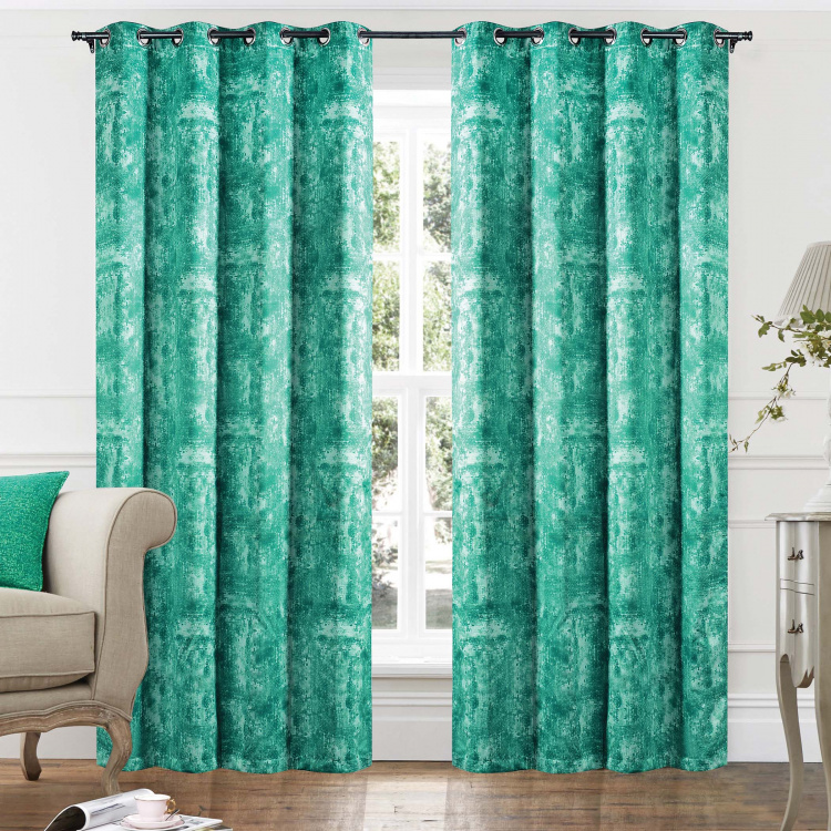 DECO WINDOW Printed Blackout Door Curtain Pair - 132 x 228 cm