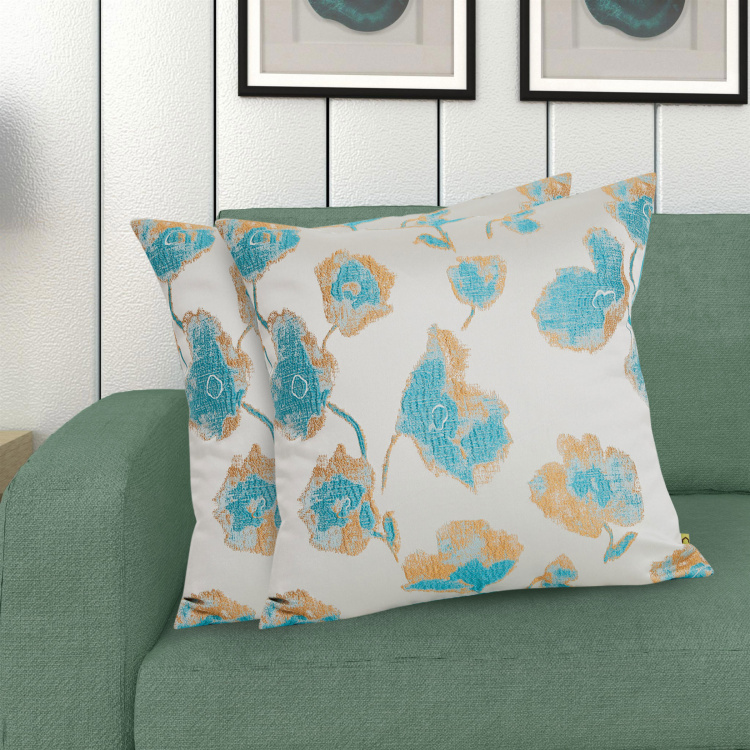 Celebration Floral Jacquard Cushion Covers - Set of 2 - 40 x 40 cm