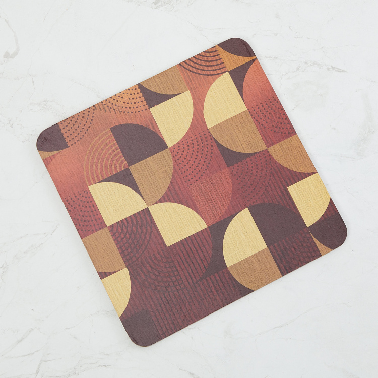 Mandarin Printed Square-Shaped Wooden Trivet - 20 x 20 cm