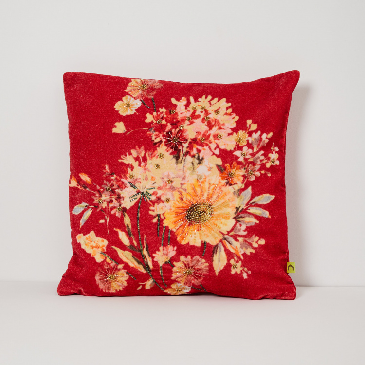 Matrix Embellished Cotton Cushion Cover - 40 x 40 cm