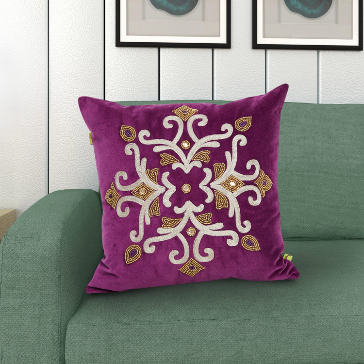 Matrix Embellished Cushion Cover - 40 x 40 cm