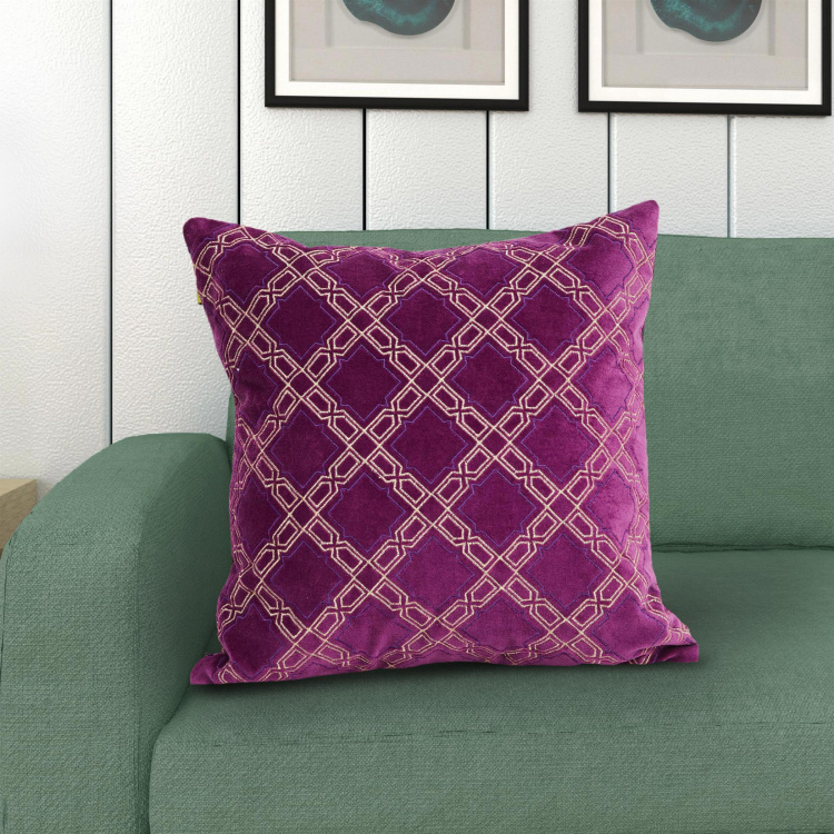 Matrix Embroidered Filled Cushion - 40 x 40 cm