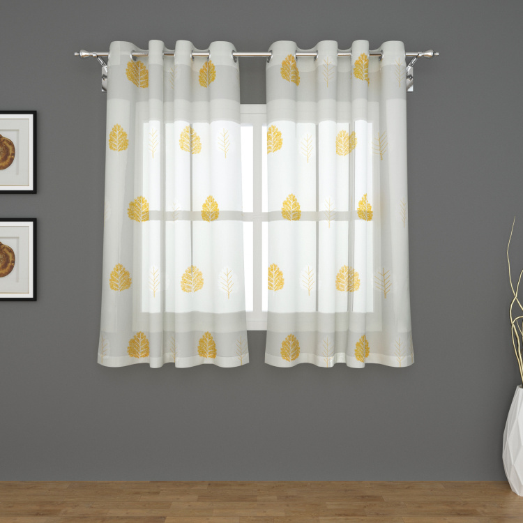 Tifany Fano Set of 2 Embroidered Semi-Sheer Window Curtains - 135 X 160 cm