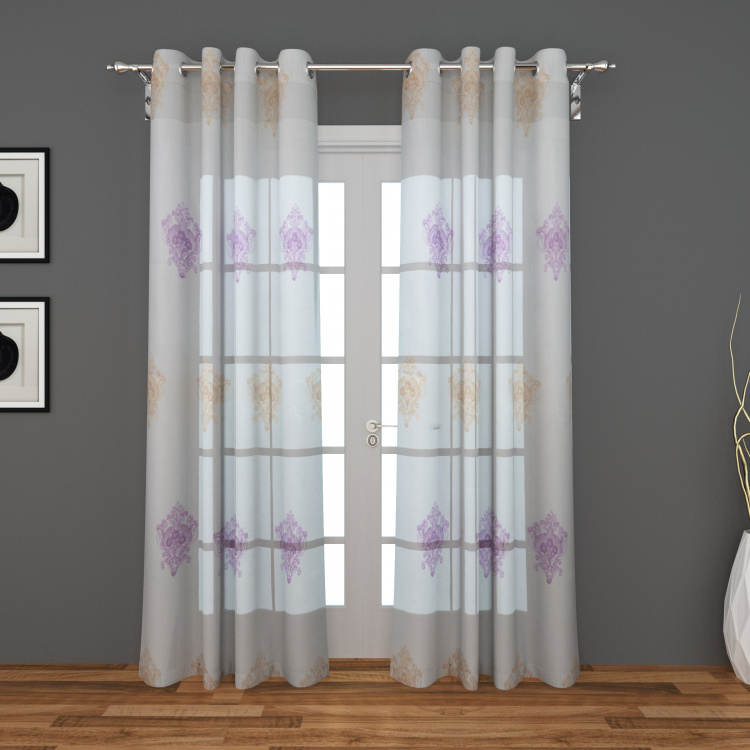 Tifany Pedum Embroidered Semi-Sheer Door Curtain-Set Of 2 Pcs.