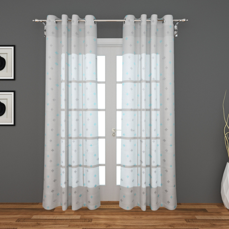 Tifany Genoa Set of 2 Embroidered Sheer Window Curtains - 135 X 160 cm